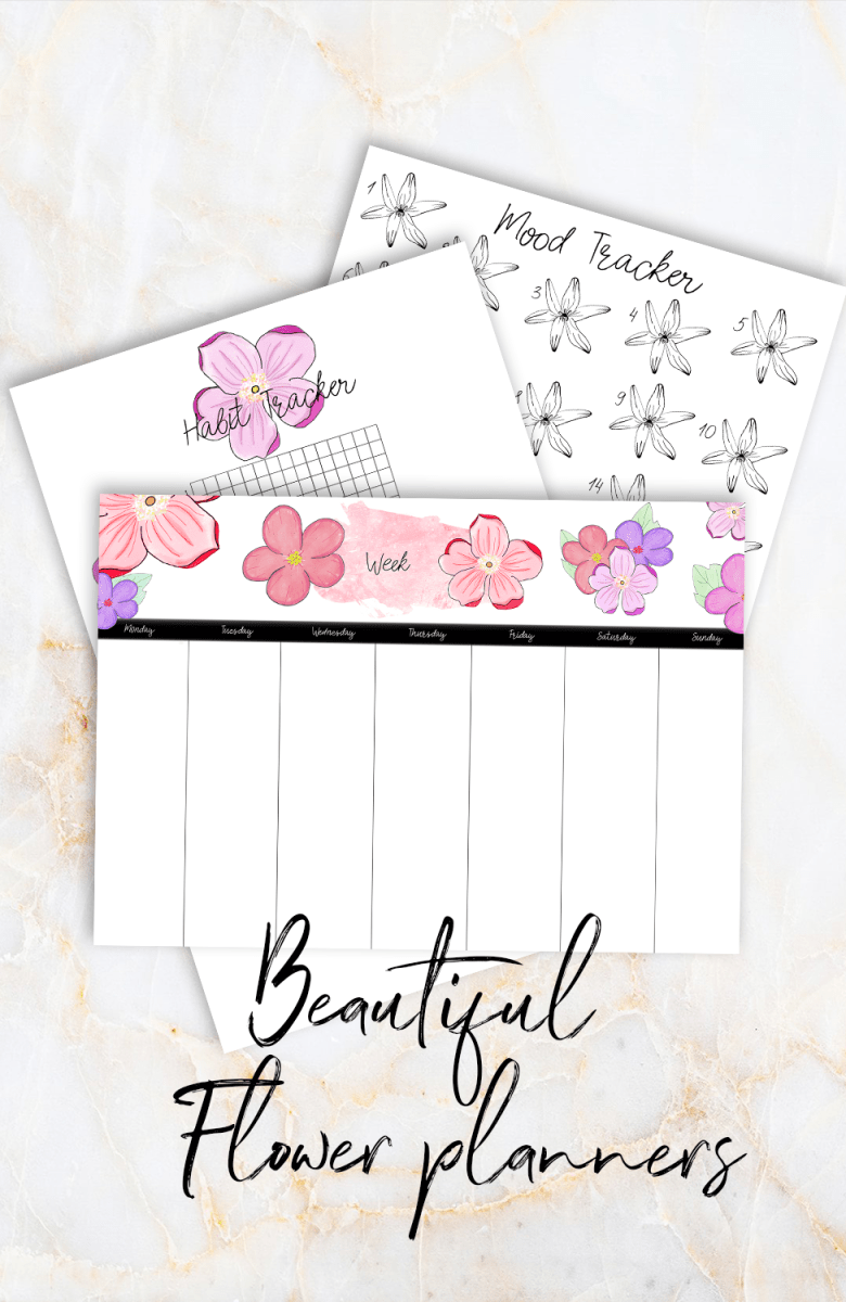 Bullet journal flower theme planners   Hand made / Hand drawn bujo planners for anyone who wants to create beautiful planners with ease without having to be creative or spend a lot of times on your planning. Download them as many times as you like and get 20% off the price this month! Plan with me   bullet journal theme   easy planning   Includes weekly planner, mood tracker and habit tracker #bujo #bulletjournal #floral #flower