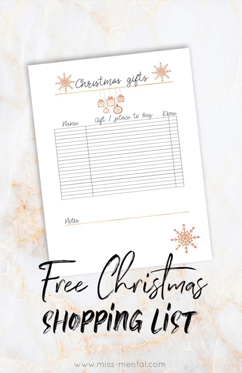 Free printable Christmas shopping list by miss mental   Make your shopping experience easier with this cute shopping list.   xmas   Holiday   Sale   organized   planning   Family   homemaking #christmas #holiday #xmas