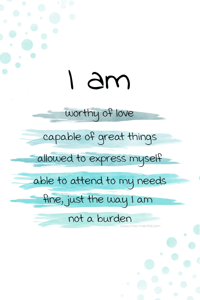 10 affirmations for anxiety with free phone wallpapers | I am affirmations for improving your mental health and selfesteem. You can create your own set of I AM affirmations that work for you and help you become a stronger, more positive person with a killer mindset. #mentalhealth #teal #watercolor #affirmations #anxiety