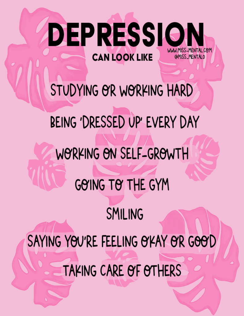 Depression can look like more than being ill, People that look happy can feel depressed took. Mental health illustration, stigma awareness. Mental health awareness. Pink images with tropical leaves. Positive quotes. #depression #mentalhealth