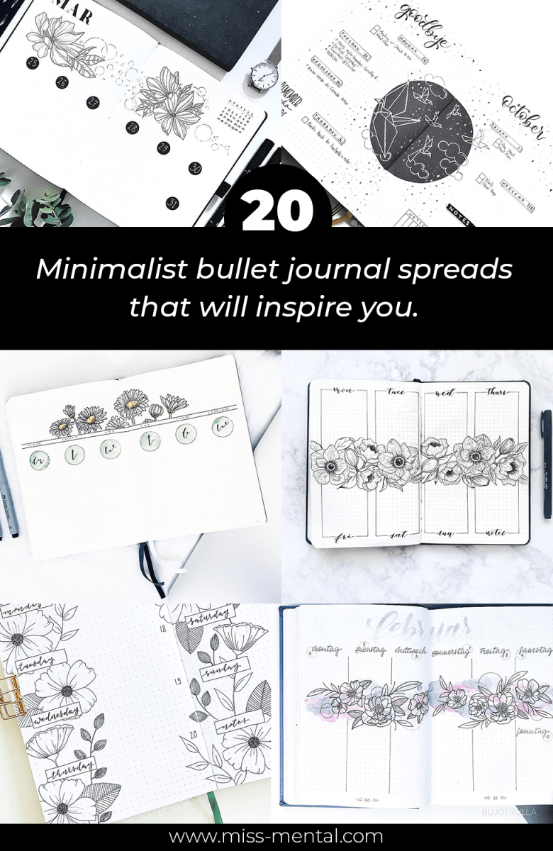 20 minimalist bullet journal weekly spreads that will inspire you. Semi minimalistic bujo spreads you must try. bullet journal pages for beginners and bullet journal addicts.