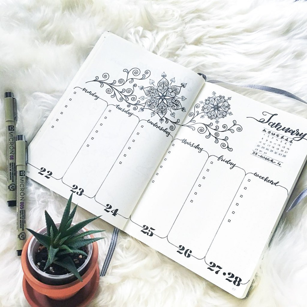 semi minimalist bullet journal weekly spread mandala style
