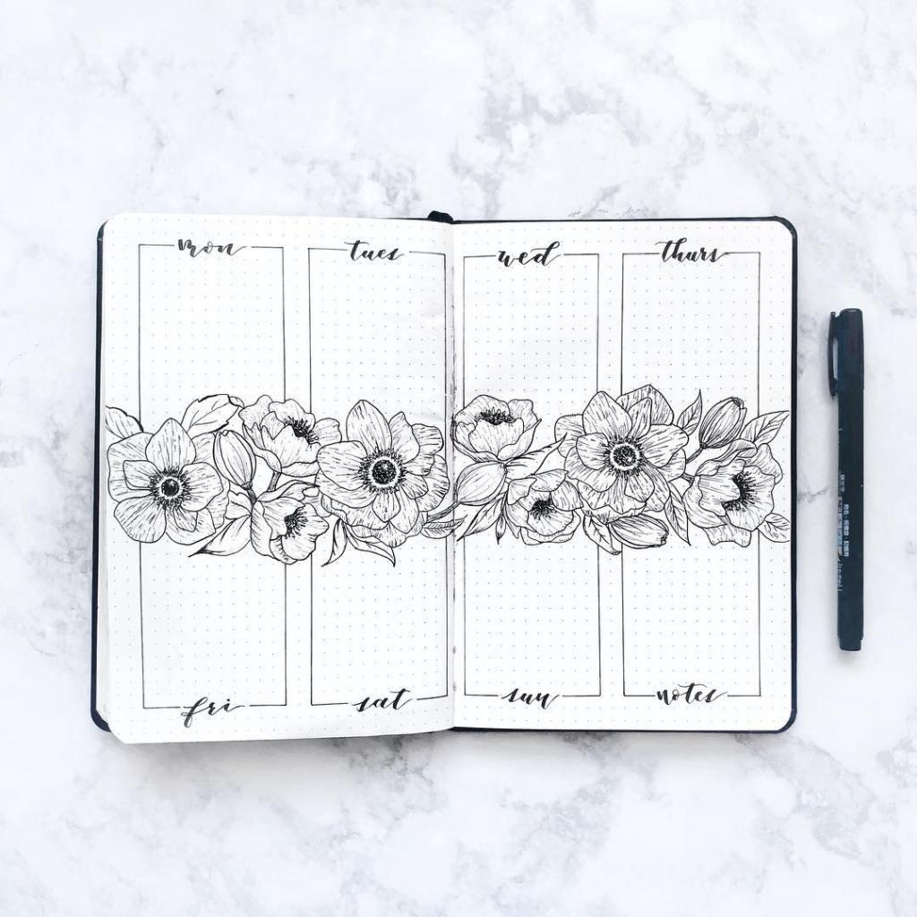bujo flower spread minimalistic
