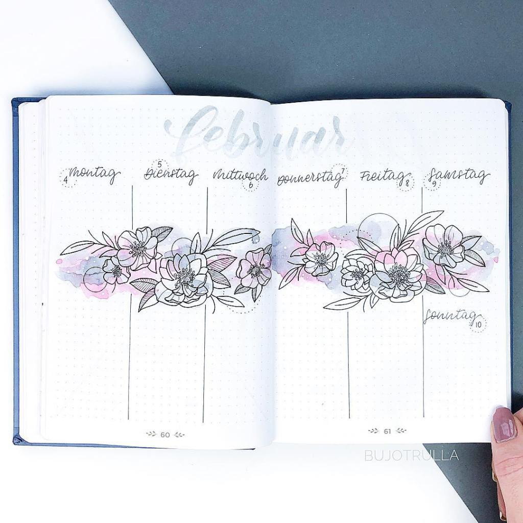Minimalistic flower journal with watercolors weekly spread