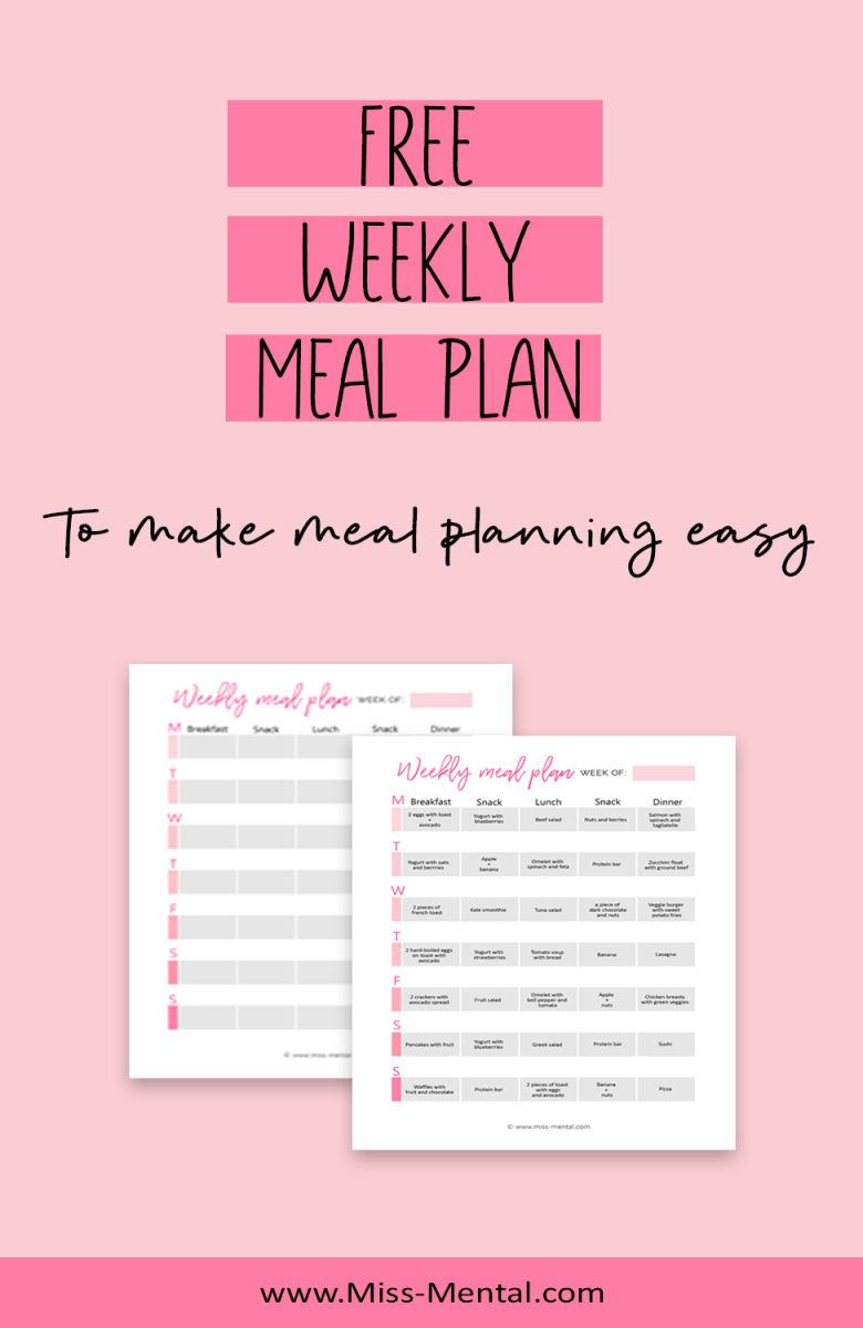 Free printable meal planner to make meal planning easy. Free meal plan so you can start organizing your life, focus on a healthy lifestyle and meal prep. Meal planning helps to stick to a healthy diet and it helps to avoid stress.