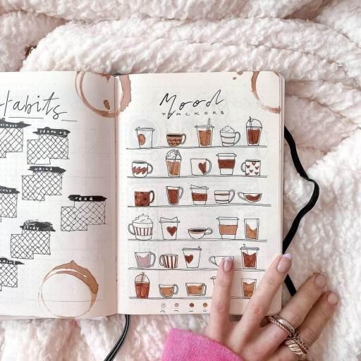 Bullet journal coffee spread mood tracker made by Zaraanettejournals