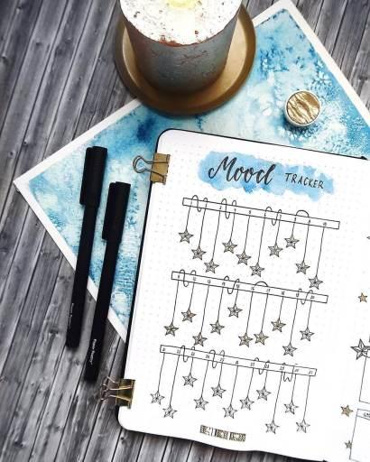 bullet journal spread falling star mood tracker made by thuys.bujo on instagram