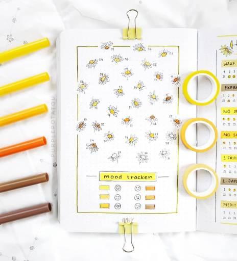 minimalist bullet design mood tracker daisies