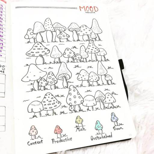 Mushroom bullet journal mood tracker inspiration. daily mood tracking