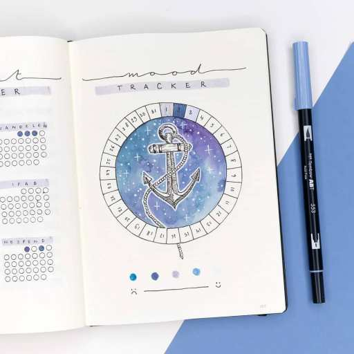 watercolor anchor mood tracker. bullet journal sea theme made by dutch_dots on Instagram