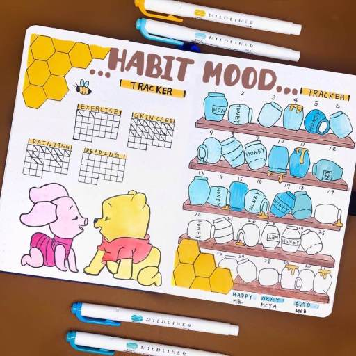 piglet and pooh bullet journal inspiration mood tracker by planwith_ryan on insta