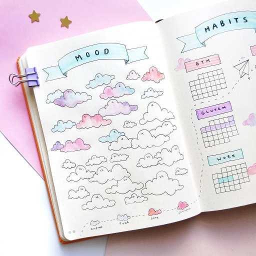 minimalistic design mood tracker clouds pastel