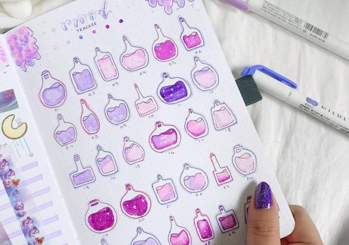 mood tracker inspiration potions spread bullet journal by awa_studies