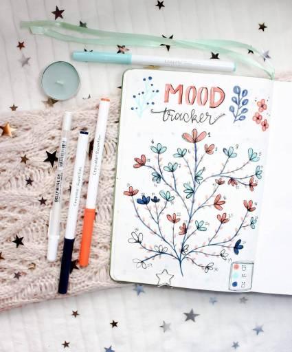 minimalist mood trackers bullet journal idea tree