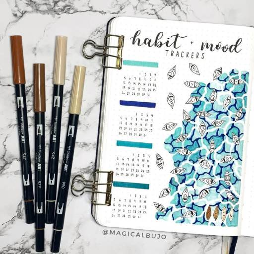 Beautiful mood tracker page idea canoes and boats by magicalbujo on insta