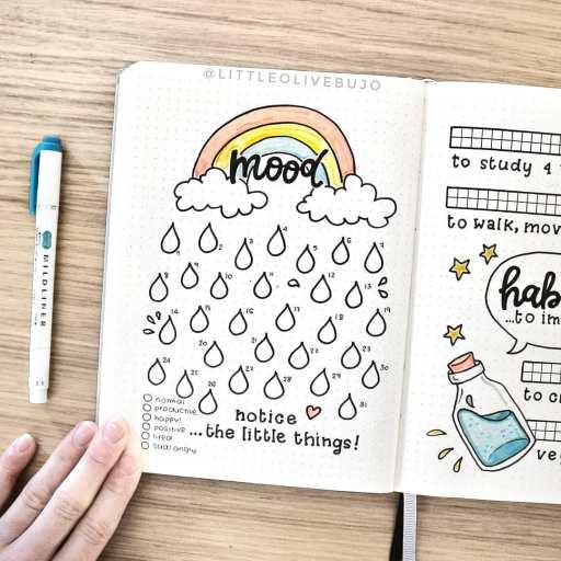 Rainbow mood tracker bullet journal made by littleolivebujo on insta