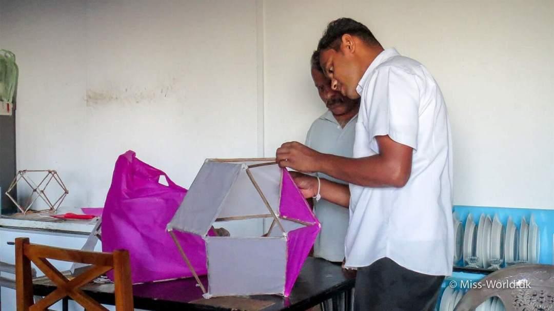 Vesak lantern in the making, Sri Lanka