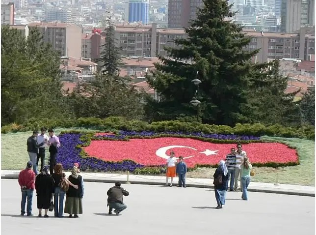 Turkey flower flag at Ataturk Mausoleum