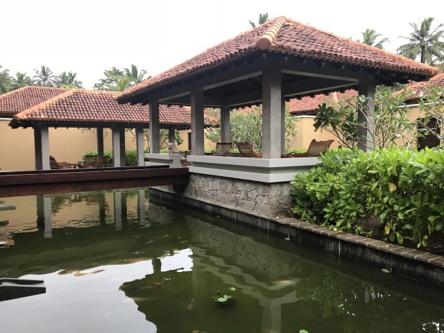 Koi pond and outdoor sitting pavilion at Anantara Kalutara Spa