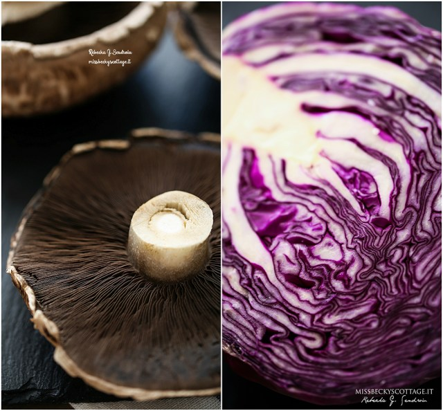 red cabbage and mushrooms