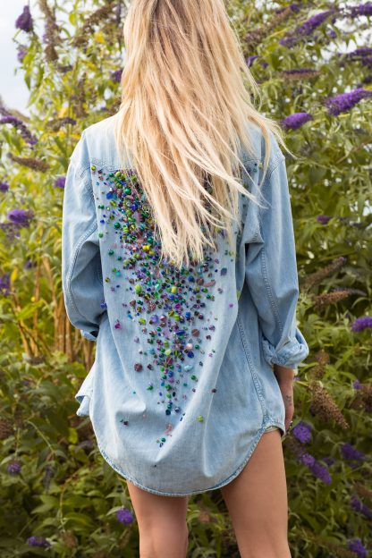 vintage levis embellished denim handmade fashion one of a kind beads color colorful