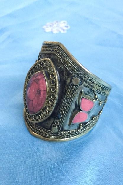 coral cuff bracelet vintage antique jewels jewellery jewelry tribal ethnic kuchi handmade