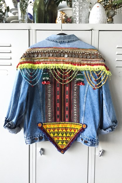 vintage jacket levi levis embellished fashion color colorful ethnic tribal kuchi beads pearls fashionlover