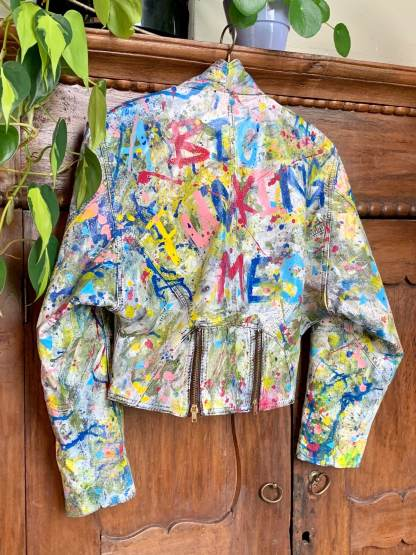 handpainted leather punk vintage jacket embellished upcycled one of a kind unique leatherpaint painted art wearable art painting fashion