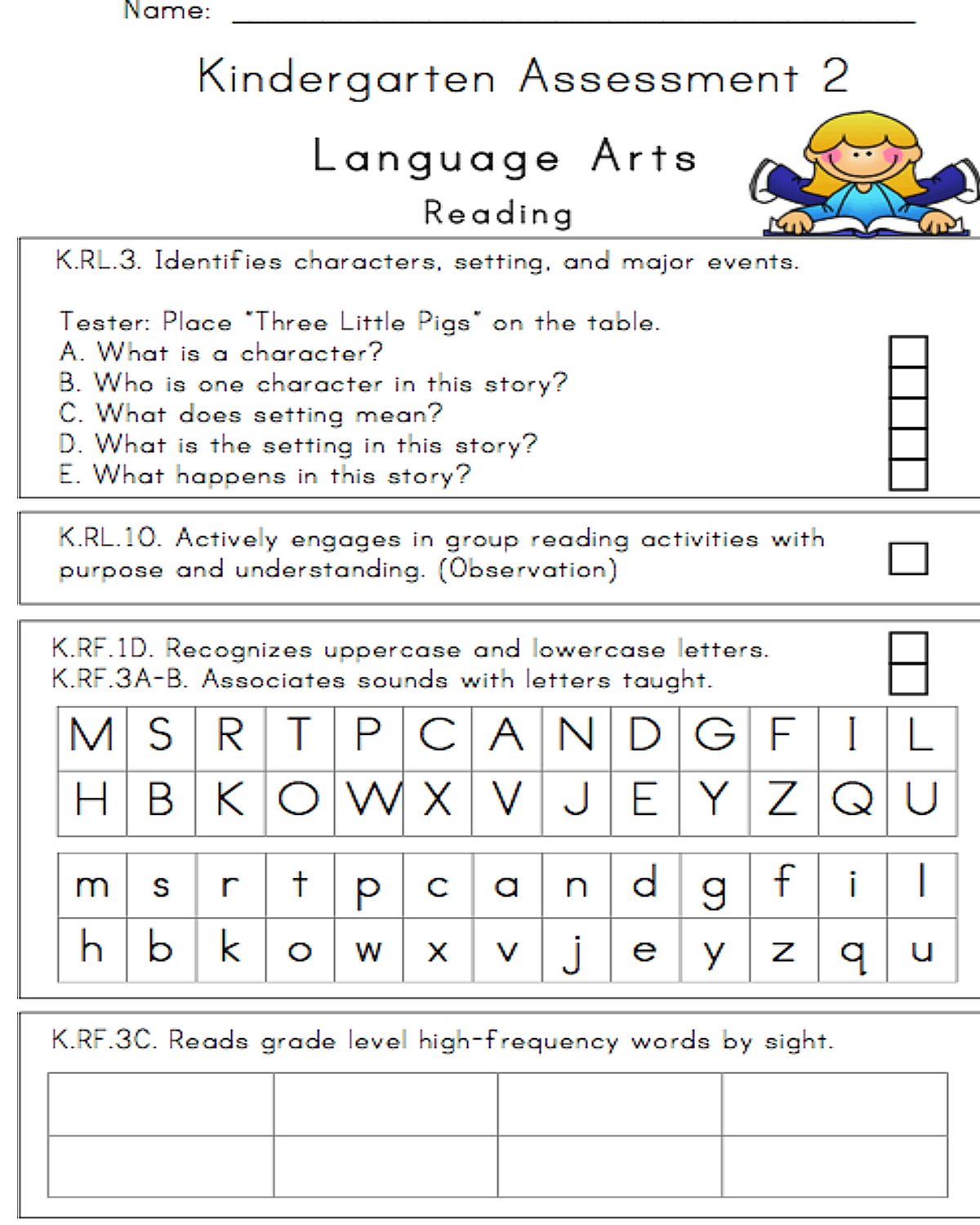 24 Page Illustrated Kindergarten Assessment