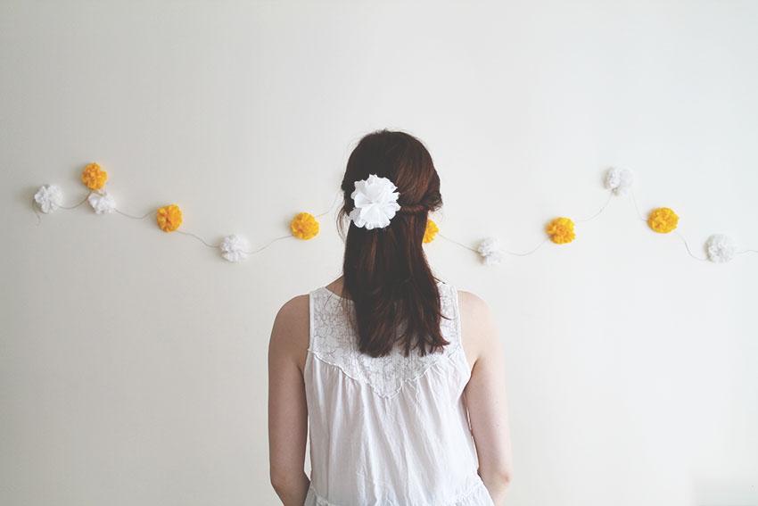 Yellow sunshine boréales guirlande fleurs tissu - DIY - Miss Blemish