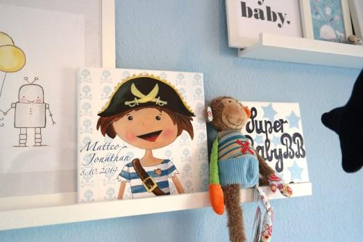Wandpiraten Babygeschenk individualisiert Name Babyzimmer