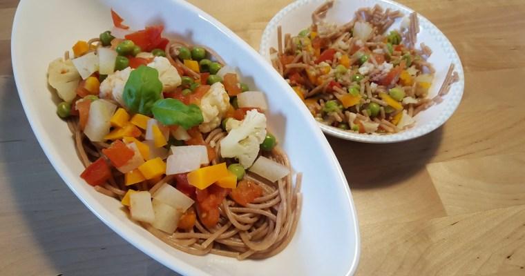 Vollkornspaghetti mit Sommergemüse – Rezept für Mama&Baby