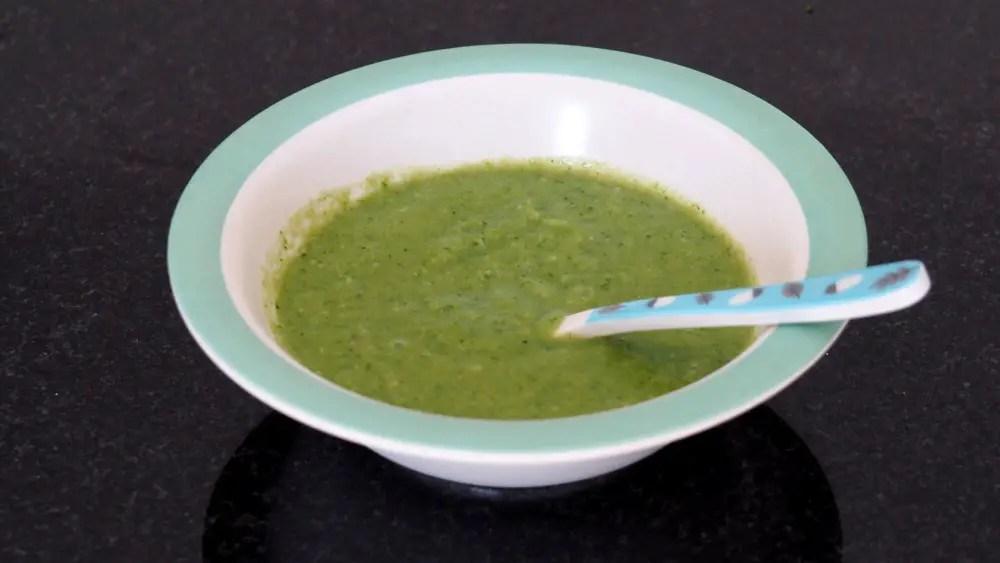 Broccoli Brokkoli Babybrei in Teller Löffel Rezept