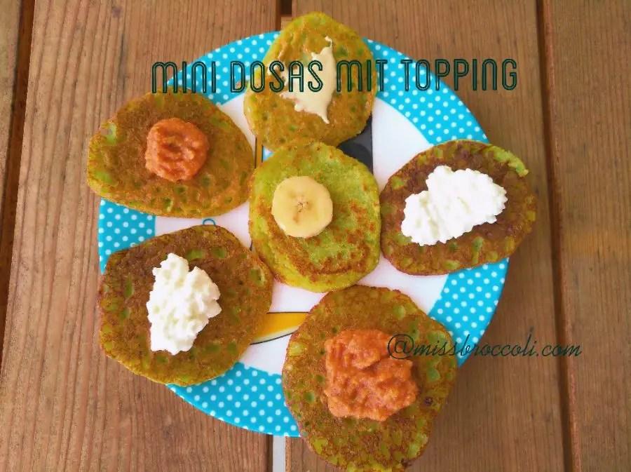 Grüne Mini-Dosa mit Toppings