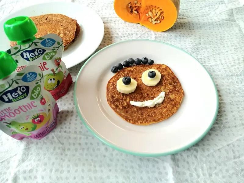 kürbis zuckerfrei ohne zucker apfelmus pancakes halloween rezept pfannkuchen kinder foodlbog mamablog einfach lustig