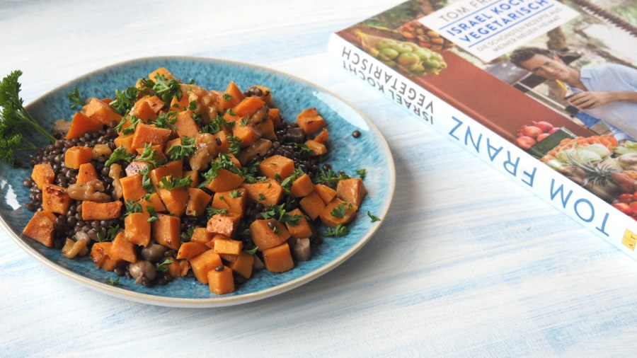 israel kocht vegetarisch linsensalat, süsskartoffeln, salat, israeliisch, orientalisch, mezze, kochbuch, rezension, rezepte, vegetarisch, vegan