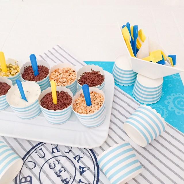 Mini gelati furbi alla ricotta con righe marinare