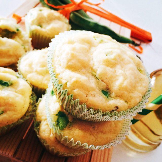 Muffin fave e pecorino dall'alto