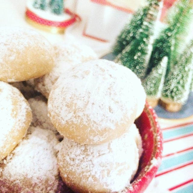 Snowball cookies in primo piano