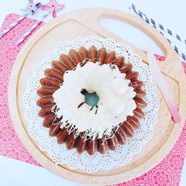 One bowl cake di carote viola con cioccolato bianco