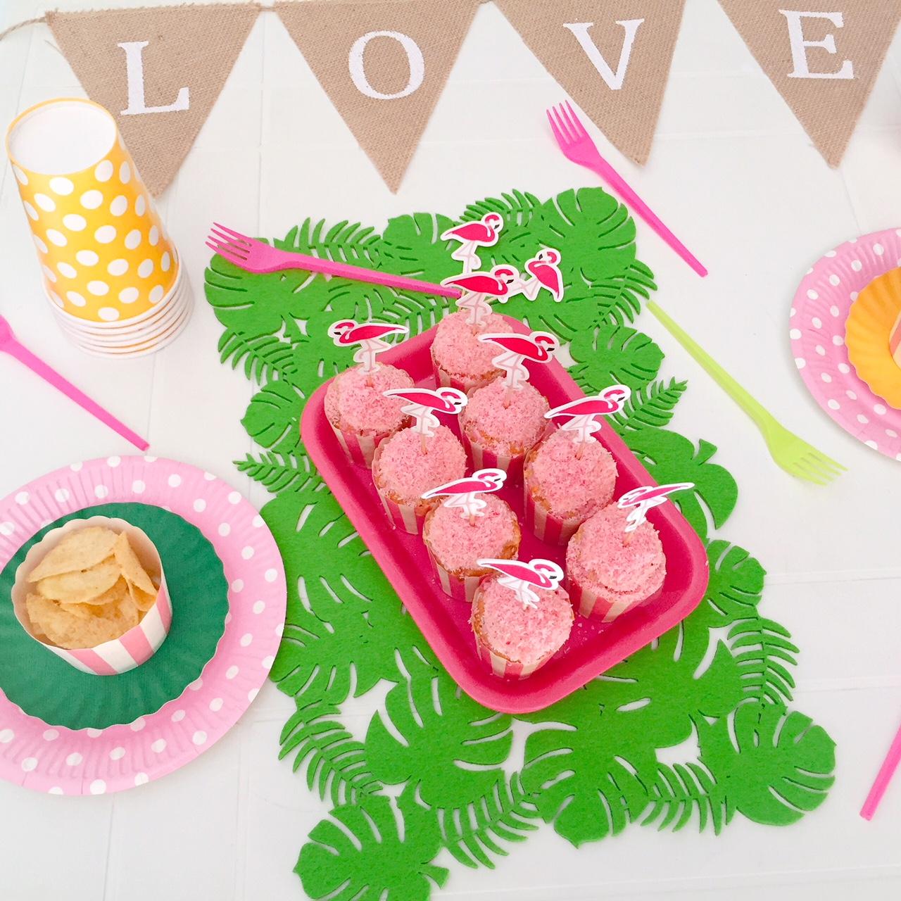 Muffin al cioccolato bianco e cocco (rosa)_Fenicocco