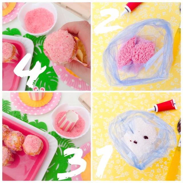 Muffin al cioccolato bianco e cocco_procedimento cocco rosa