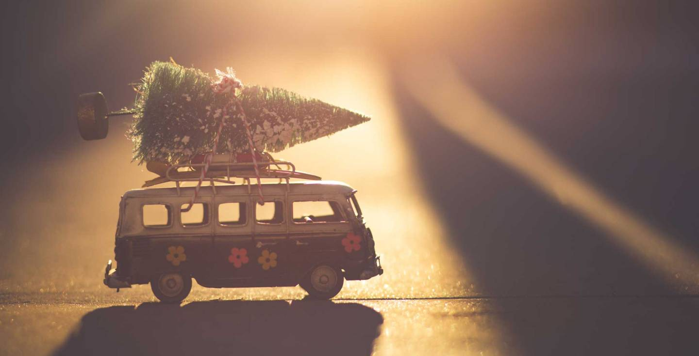 Christmas tree tied to the top of a toy van