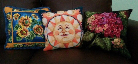 Three pillows... all finished from my stash!
