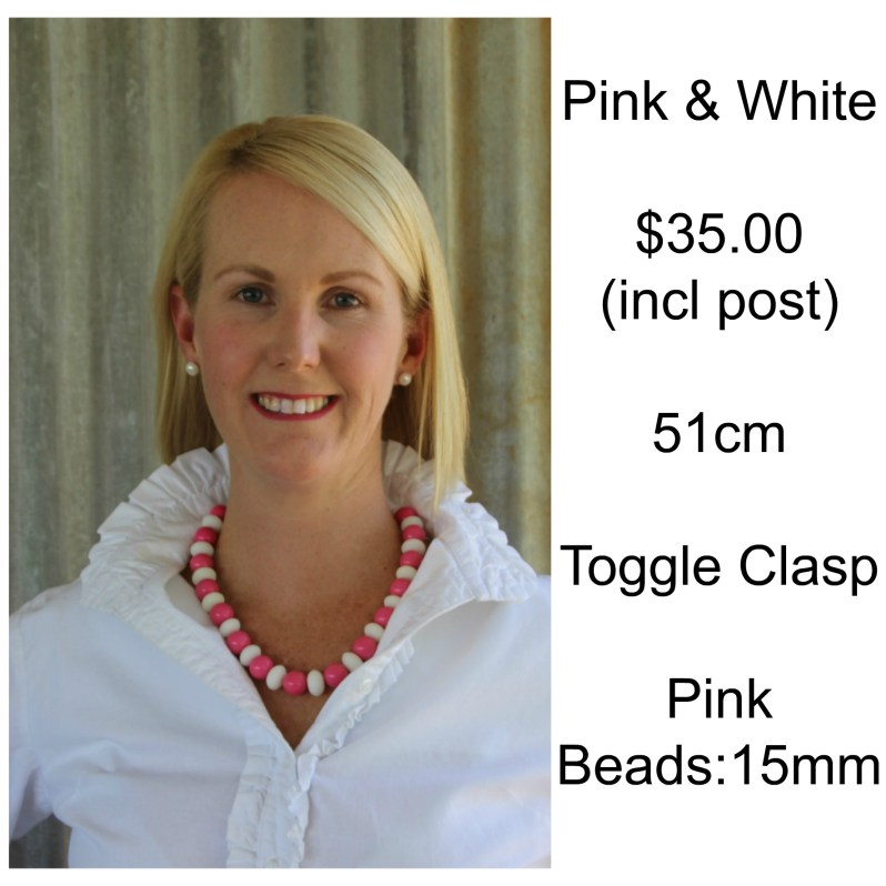 Pink & White Single Strand Necklace