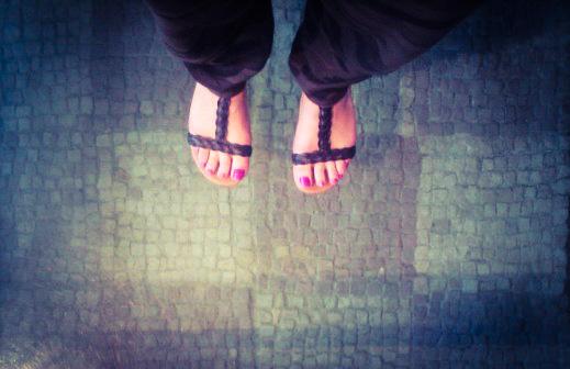 Roman stones, feet, sandals, pink toe polish