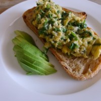 Coriander and chilli scrambled eggs recipe