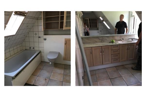 Sådan så vores gamle badeværelse ud inden vi byggede vores retro drøm