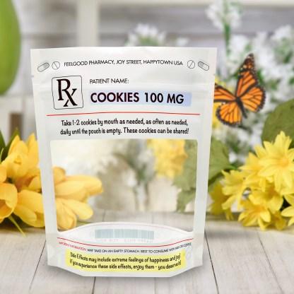 Rx Prescription Stand Up Cookie Pouch