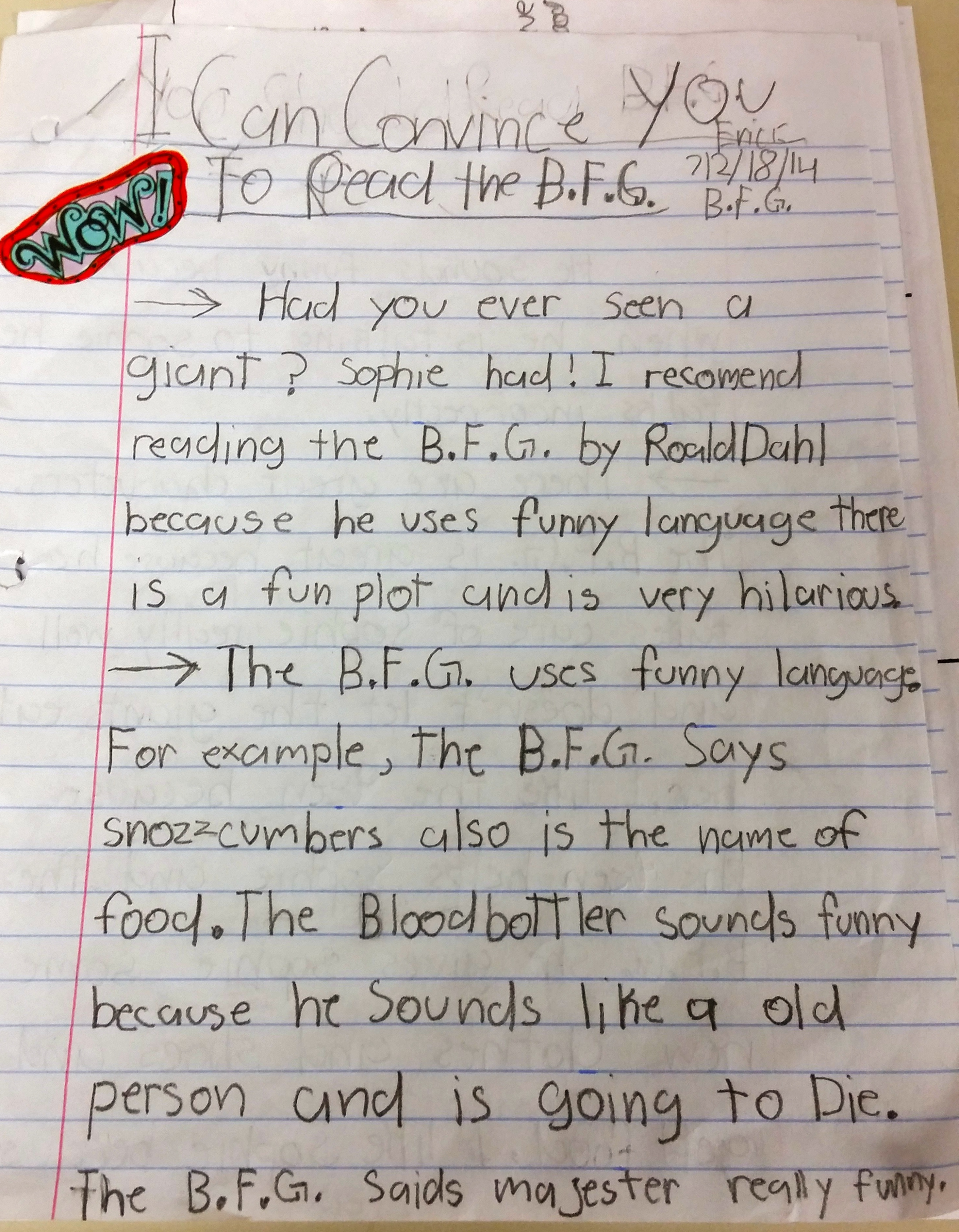 Writing About Giants Student Opinion Essays On Roald Dahl